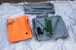 Click to enlarge: Kelty Foxhole 3 tent components ready to set up.