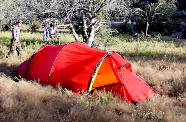 Set-up in backcountry meadow near Devil's Garden, Gila National Forest, NM.