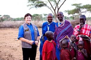 Helen Thayer on left with her Maasai friends.