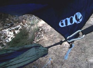 ENO all season setup offers overhead protection with a rainfly.