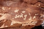 Petroglyphs can be found in Arches National Park.