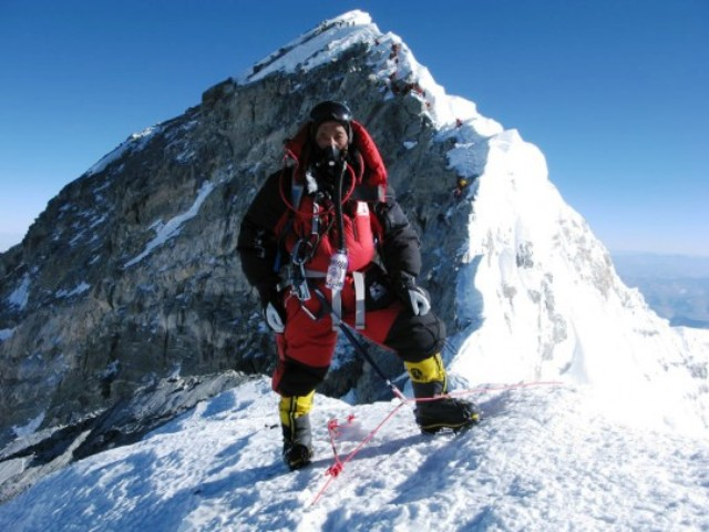 Apa Sherpa on South Summit of Mt. Everest. Image: Apa Sherpa Foundation.