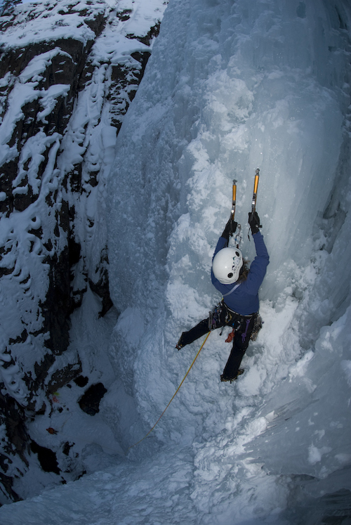 Margo Talbot Ice climbing. Photo by Margo Talbot