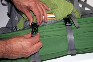 The bottom accessory straps allow you to carry a lightweight sleeping pad or other equipment.