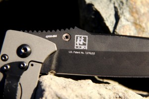 Benchmade 760 patent number and Bob Lund's tanto logo.