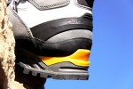 Notice the yellow heel truss and crampon compatible groove or welt.