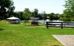 Eagle Island SP picnic spots along the banks.