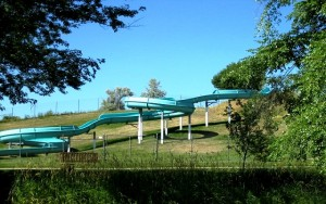 Children shoot down this slide at a rapid rate of fun.
