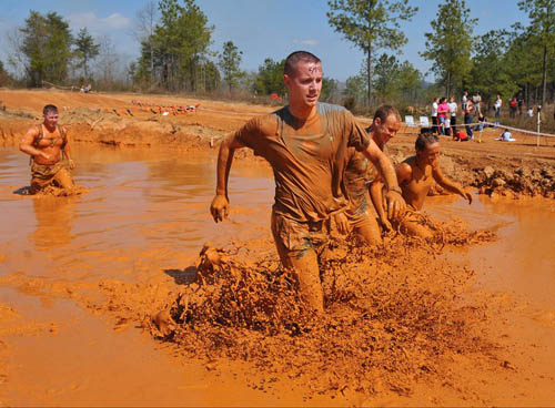 Mud running in Tough Mudder Event