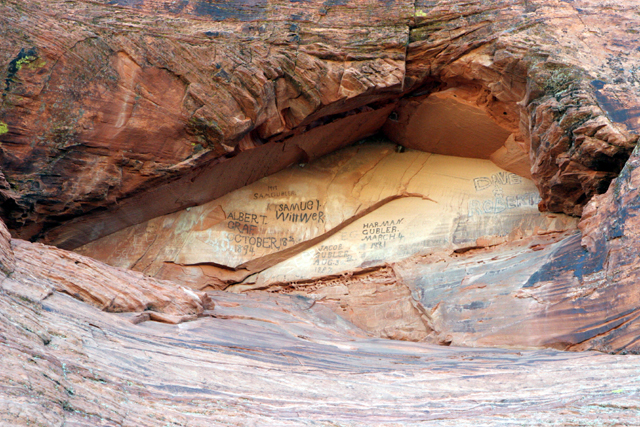 Early mormon pioneers wrote their names on one of the cliff faces with axle grease.