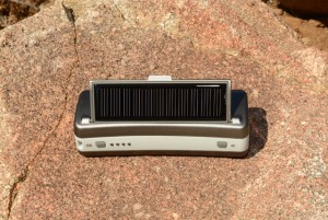 The solar panel pops out and provides one minute of talk time for every 10 minutes of solar charging.