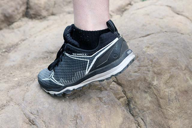 The rear of the shoe has sturdy ankle support for steep terrain.