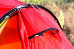 Snow-proof ventilation hoods mounted high up, and adjustable from inside tent.