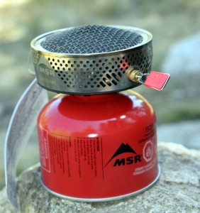 The MSR Reactor stove weighs over 1lbs. but is compact and easy to opeate, even with gloves on.