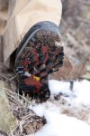 Voids between lugs allowed good self-cleaning in mud and snow. The Vibram outsoles offered solid traction on dry trails, and in wet, slushy conditions.