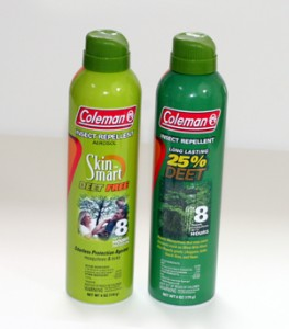 Companies such as Coleman Repellants offer DEET and DEET free products that are effective for 8hours with one application.