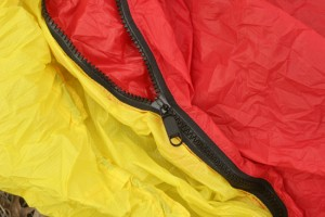 The heavy duty zipper on the side of the Brooks-Range bivy makes it easy to enter and exit.