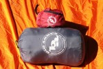 Big Agnes Yampa 40 sleeping bag (bottom) and Air Core pad (top) in respective stuff sacks.