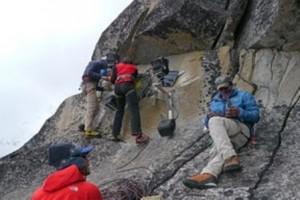 Climbers install equipment to measure glacial change adjacent to Khumbu Ice Fall. Photo: Apa Sherpa Foundation.