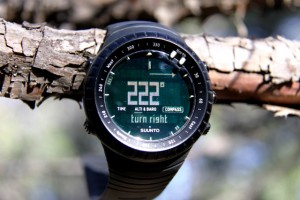 You can pre-set compass bearing. Suunto Core watch face will indicate left or right arrows to keep you on course.