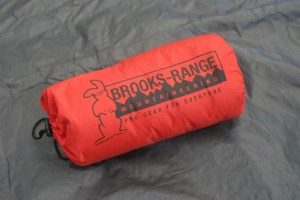The Brooks-Range Alpini sleeping pad fits into a small stuff sack that doesn't take up much space.