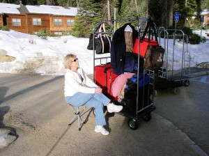 Ms. Barbara found the Slacker Chair easy to enjoy as she waits upon the limo.