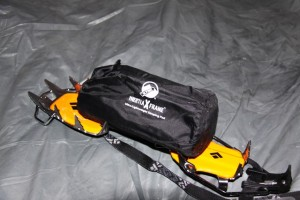 Klymit Inertia X Frame is compact. Shown on an inverted Black Diamond crampon.