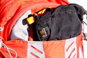 The forward overflow pocket also keeps gear you'll want access to, like gloves, secure on the pack.
