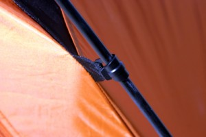 With only two nylon poles, the tent assembles easily and quickly.