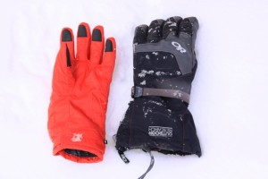 OR Alti Glove system: Liner on Left, workhorse outer shell on Right.