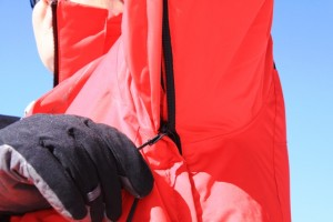 Underarm ventilation zips are easy to use with gloved hands.
