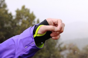 Lycra thumb holes unify the jacket with gloves.